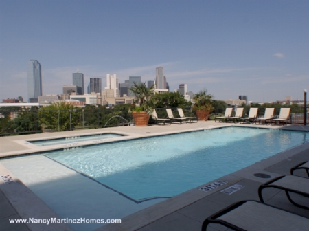 Downtown Dallas from pool