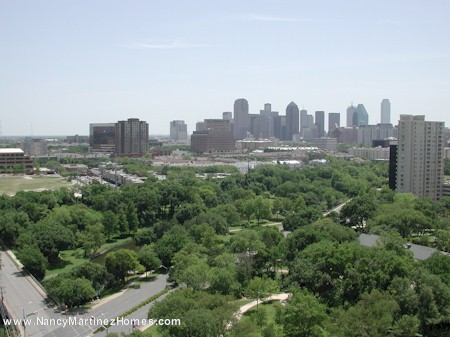 Looking across Oak Lawn Park and Turtle Creek to downtown Dallas