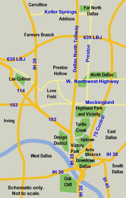 Map to High-rise Living in Dallas